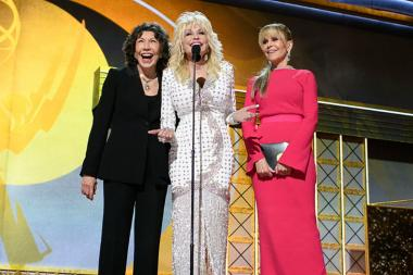 Lily Tomlin, Dolly Parton and Jane Fonda on stage at the 69th Emmy Awards.