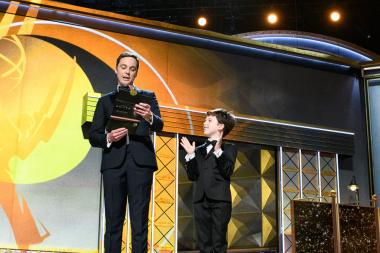 Jim Parsons and Iain Armitage present an award at the 69th Primetime Emmys.