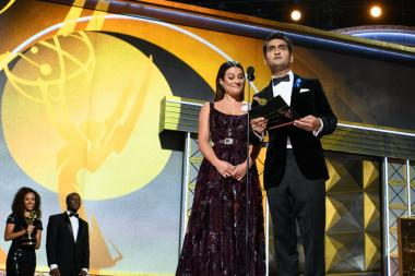 Lea Michele and Kumail Nanjiani present an award at the 69th Primetime Emmys.