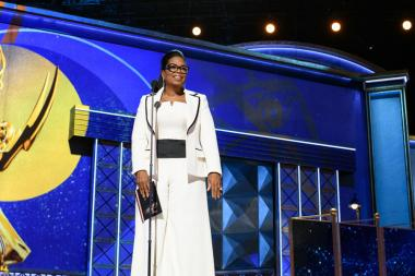 Oprah Winfrey presents an award at the 69th Primetime Emmys