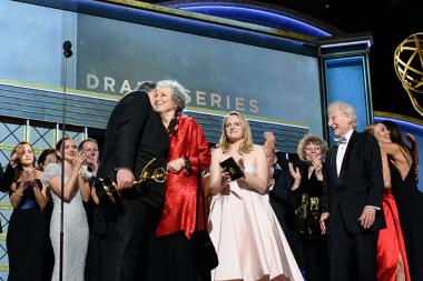 The team from The Handmaid's Tale accept their award at the 69th Primetime Emmys
