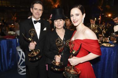 Daniel Palladino, Amy Sherman-Palladino and Rachel Brosnahan