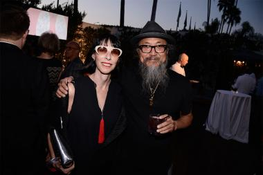 Television Academy governor Lynda Kahn with Grant Lau at the Motion and Title Design nominee reception September 11, 2015 in Los Angeles, California.