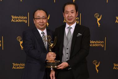 Hiroshi Kiriyama and Kurashige Tadamasa at the 68th Engineering Emmy Awards, October 28, 2016 at Loews Hollywood Hotel in Los Angeles, California.