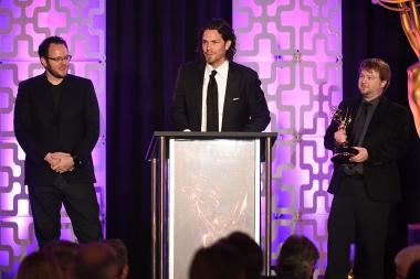 Isaac Reuben, Don Parker, and Matt Daw of Shotgun Software accept their award at the 69th Engineering Emmy Awards at the Loews Hollywood Hotel on Wednesday, October 25, 2017 in Hollywood, California.
