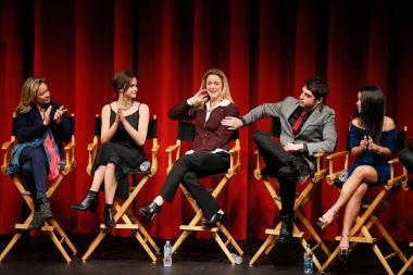 Joanna Johnson, Maia Mitchell, Teri Polo, David Lambert and Cierra Ramirez onstage at An Evening with The Fosters in Los Angeles, California.