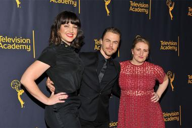 "Television Academy governors Kathryn Burns, Derek Hough, and Television Academy governor Mandy Moore at ""Whose Dance Is It Anyway?"" February 16, 2017, at the Saban Media Center in North Nollywood, California."