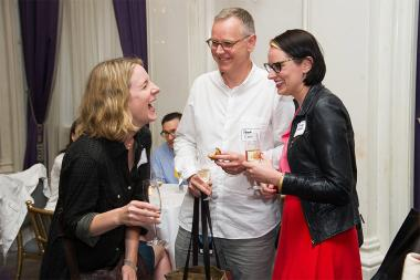 Kelly Hanson, Peter Baran, and Heather Wolensky at Networking Night Out NYC! at the St. Regis Hotel in New York City, June 12, 2015.