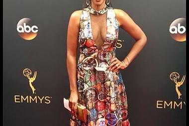 Kelsey Scott on the red carpet at the 2016 Primetime Emmys.