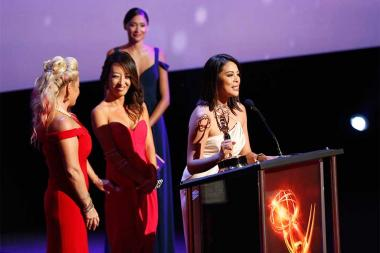 Cher Calvin and her team accept an award at the 68th Los Angeles Area Emmys, July 23, 2016, at the Saban Media Center, North Hollywood, California.