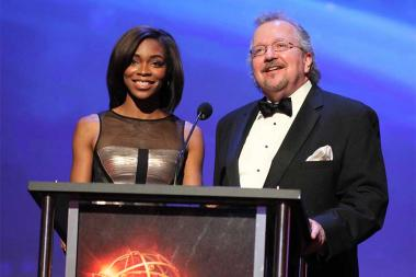 Kristina Pink and Barry Kibrick present an award at the 68th Los Angeles Area Emmys, July 23, 2016, at the Saban Media Center, North Hollywood, California.