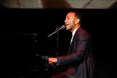 """John Legend performs Bob Marley's """"Redemption Song"""" at Unlock Our Potential at the Television Academy's Saban Media Center, August 9, 2016."""