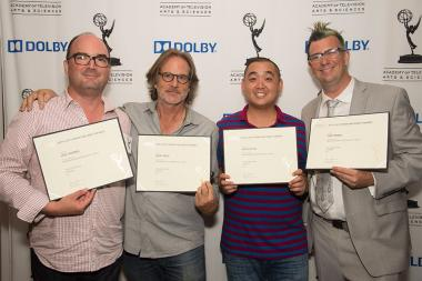 Lou Thomas, Jerry Ross, Joseph Tsai, and Tim Farrell at the Sound and Sound Editors nominee reception September 10, 2015 in Los Angeles, California.