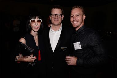 Television Academy governor Lynda Kahn with Eric Anderson and Michael Lane Parks at the Motion and Title Design nominee reception September 11, 2015 in Los Angeles, California.