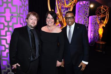 Matt Daw, Colleen Jenkinson, and Television Academy Chairman and CEO Hayma Washington at the 69th Engineering Emmy Awards at the Loews Hollywood Hotel on Wednesday, October 25, 2017 in Hollywood, California.