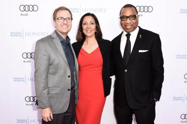 Television Academy President and COO Maury McIntyre, Lucia Gervino,Television Academy Honors Chair, and Television Academy Chairman and CEO, Hayma Washington arrive at the 2017 Television Academy Honors at the Montage Hotel on Thursday, June 8, 2017, in B