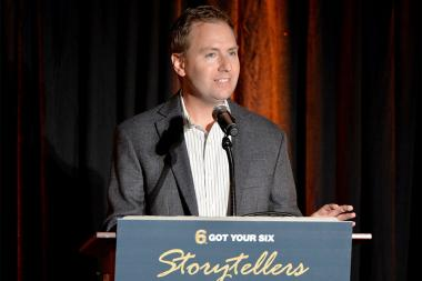 Television Academy president and COO Maury McIntyre speaks at the Got Your 6 Storytellers event, November 10, 2015, in Los Angeles, California.