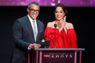 Michael Brownlee and Michelle Valles at the L.A. Area Emmy Awards presented at the Television Academy's Wolf Theatre at the Saban Media Center on Saturday, July 22, 2017, in North Hollywood, California.