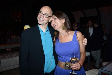 Television Academy governor Michael A. Levine and wife Mirette at the Music nominee reception September 10, 2015 in Los Angeles, California.