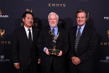 Miles Shozuya, Gordon Tubbs, and Chuck Lee with the award for Fujifilm Fujinon 4K Zoom Lenses at the 69th Engineering Emmy Awards at the Loews Hollywood Hotel on Wednesday, October 25, 2017 in Hollywood, California.
