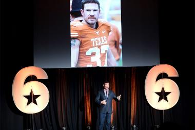 Nate Boyer tells his story at the Got Your 6 Storytellers event, November 10, 2015, in Los Angeles, California.