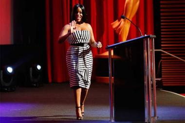 Neicy Nash greets the audience at the 68th Los Angeles Area Emmys, July 23, 2016, at the Saban Media Center, North Hollywood, California.