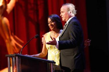 Pat Harvey and David Goldstein present an award at the 68th Los Angeles Area Emmys, July 23, 2016, at the Saban Media Center, North Hollywood, California.