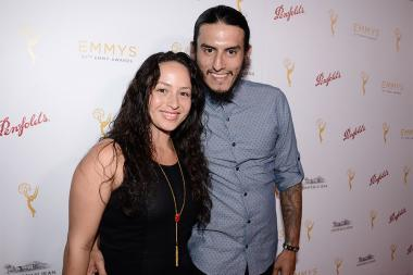 Richard Cabral and his wife Janiece Sarduy at the Casting Directors nominee reception September 10, 2015 in Los Angeles, California.