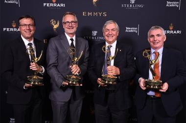 Rick Dempsey, Jeff Miller, Brian Sanders, and Andy Aherne with their award for Disney Global Localization at the 69th Engineering Emmy Awards at the Loews Hollywood Hotel on Wednesday, October 25, 2017 in Hollywood, California.