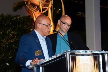 Television Academy governors Rickey Minor and Michael A. Levine at the Music nominee reception September 10, 2015 in Los Angeles, California.