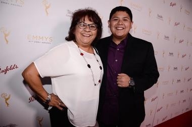 Rico Rodriguez and his mother Diane Rodriguez at the Casting Directors nominee reception September 10, 2015 in Los Angeles, California.