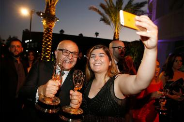Ruben Keoseyan and Jacklyn Keoseyan capture the moment at the L.A. Area Emmy Awards presented at the Television Academy's Wolf Theatre at the Saban Media Center on Saturday, July 22, 2017, in North Hollywood, California.