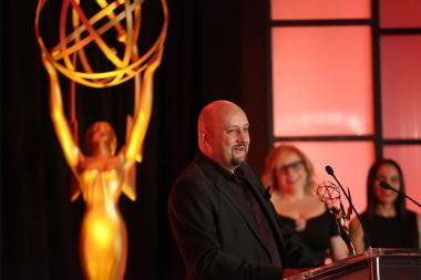 Sam Bolvin speaks at the 68th Engineering Emmy Awards, October 28, 2016 at Loews Hollywood Hotel in Los Angeles, California.