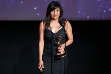 Sandra Alvarado accepts an award at the L.A. Area Emmy Awards presented at the Television Academy's Wolf Theatre at the Saban Media Center on Saturday, July 22, 2017, in North Hollywood, California.