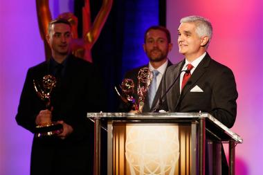 Michael Sechrest, Greg Croft, and Chris King at the 2015 Engineering Emmys at the Loews Hotel in Los Angeles, October 28, 2015.