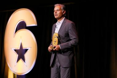 "Sheraton Kaloria, president and CMO of Sony Pictures Television, accepts the Entertainment Partner Award at the Got Your Six ""Storytellers"" event at the Television Academy's Wolf Theatre at the Saban Media Center on Tuesday, November 1, 2016, in North Hol"
