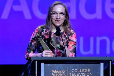 Daisygreen Stenhouse accepts an award on stage at the 38th College Television Awards presented by the Television Academy Foundation at the Saban Media Center on Wednesday, May 24, 2017, in the NoHo Arts District in Los Angeles.