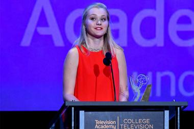 Erika Olsted accepts an award on stage at the 38th College Television Awards presented by the Television Academy Foundation at the Saban Media Center on Wednesday, May 24, 2017, in the NoHo Arts District in Los Angeles.