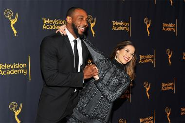 "Stephen ""tWitch"" Boss and Allison Holker arrive at ""Whose Dance Is It Anyway?"" February 16, 2017, at the Saban Media Center in North Nollywood, California."