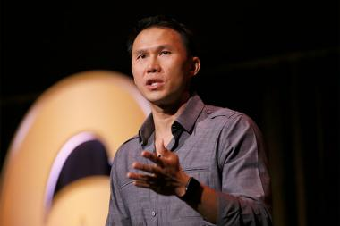 "Thom Tran speaks at the Got Your Six ""Storytellers"" event at the Television Academy's Wolf Theatre at the Saban Media Center on Tuesday, November 1, 2016, in North Hollywood, California."