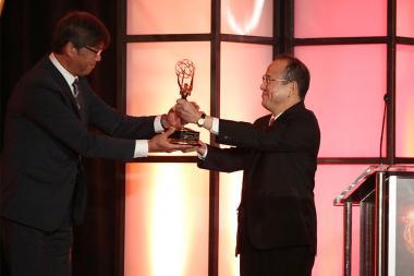 Toru Kuroda and Koki Morinaga at the 68th Engineering Emmy Awards, October 28, 2016 at Loews Hollywood Hotel in Los Angeles, California.