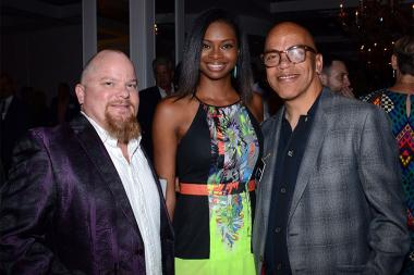Trevor Baieri, Mercedes Jackson, and Television Academy governor Rickey Minor at the Documentary Programming and Reality Programming nominee reception September 11, 2015 in Los Angeles, California.