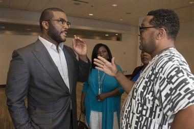 "Tyler Perry chats with Imara Canady at the Television Academy's first member event in Atlanta, ""A Conversation with Tyler Perry,"" at the Woodruff Arts Center on Thursday, May 4, 2017."