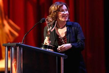 Val Zavala accepts her award at the 68th Los Angeles Area Emmys, July 23, 2016, at the Saban Media Center, North Hollywood, California.