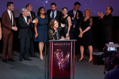 Val Zavala at the L.A. Area Emmy Awards presented at the Television Academy's Wolf Theatre at the Saban Media Center on Saturday, July 22, 2017, in North Hollywood, California.