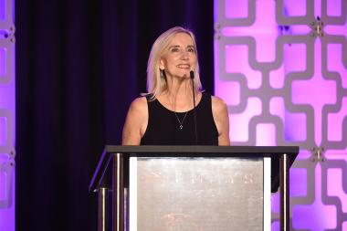 Wendy Aylsworth speaks at the 69th Engineering Emmy Awards at the Loews Hollywood Hotel on Wednesday, October 25, 2017 in Hollywood, California.