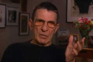 """Embedded thumbnail for Leonard Nimoy on his creation of the Vulcan salute and its use in the Star Trek episode """"Amok Time"""""""
