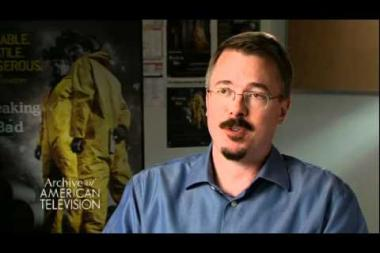 "Embedded thumbnail for Vince Gilligan describes the inspiration for Breaking Bad (born out of a joke during a call with his fellow frustrated writing pal Thomas Schnauz); on the character ""Walter White"""