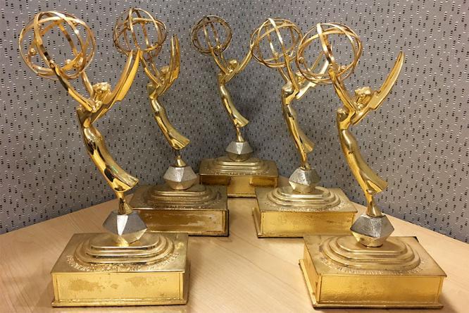Five regional Emmy statuettes