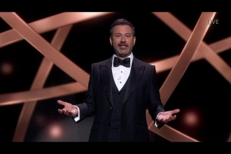 Host Jimmy Kimmel speaks on stage during the 72nd Emmy Awards.